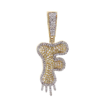 Two-Tone Dripping Initial F Bubble Letter Pendant yellow gold