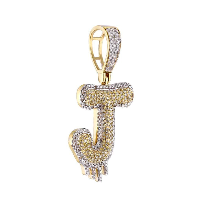 Two-Tone Dripping Initial J Bubble Letter Pendant yellow gold