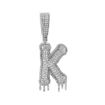 Two-Tone Dripping Initial K Bubble Letter Pendant white gold