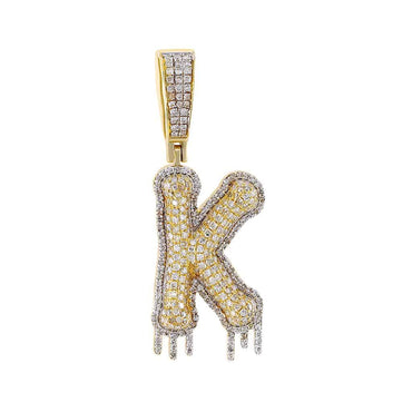 Two-Tone Dripping Initial K Bubble Letter Pendant yellow gold