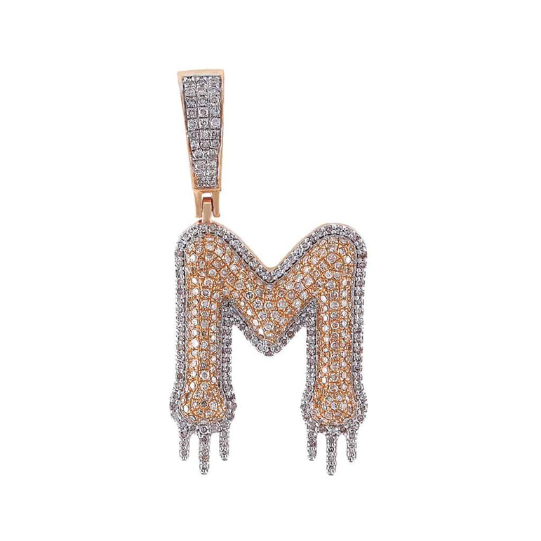 Two-Tone Dripping Initial M Bubble Letter Pendant rose gold