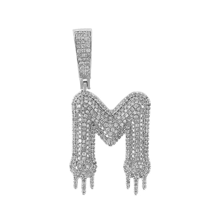 Two-Tone Dripping Initial M Bubble Letter Pendant white gold