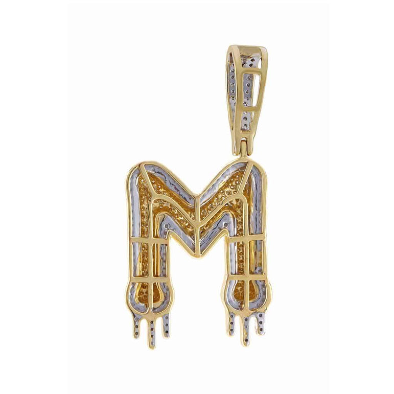 Two-Tone Dripping Initial M Bubble Letter Pendant yellow gold