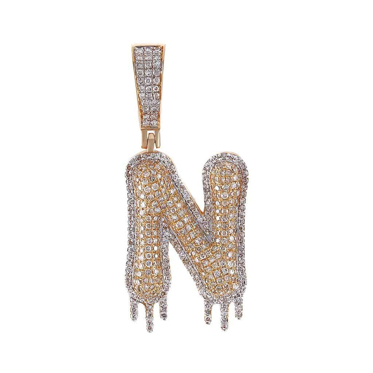 Two-Tone Dripping Initial N Bubble Letter Pendant rose gold