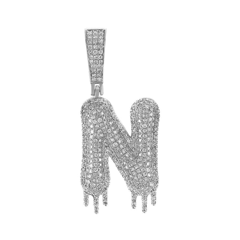 Two-Tone Dripping Initial N Bubble Letter Pendant white gold