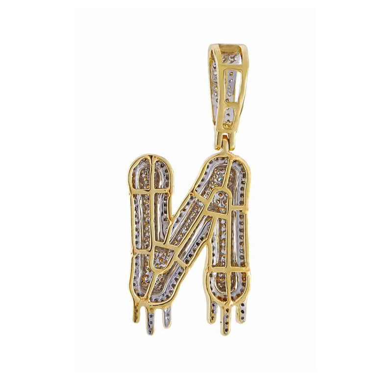 Two-Tone Dripping Initial N Bubble Letter Pendant yellow gold
