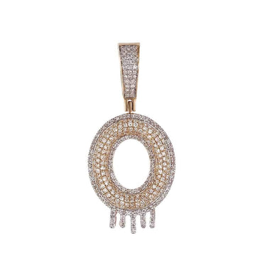 Two-Tone Dripping Initial O Bubble Letter Pendant rose gold