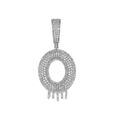 Two-Tone Dripping Initial O Bubble Letter Pendant white gold