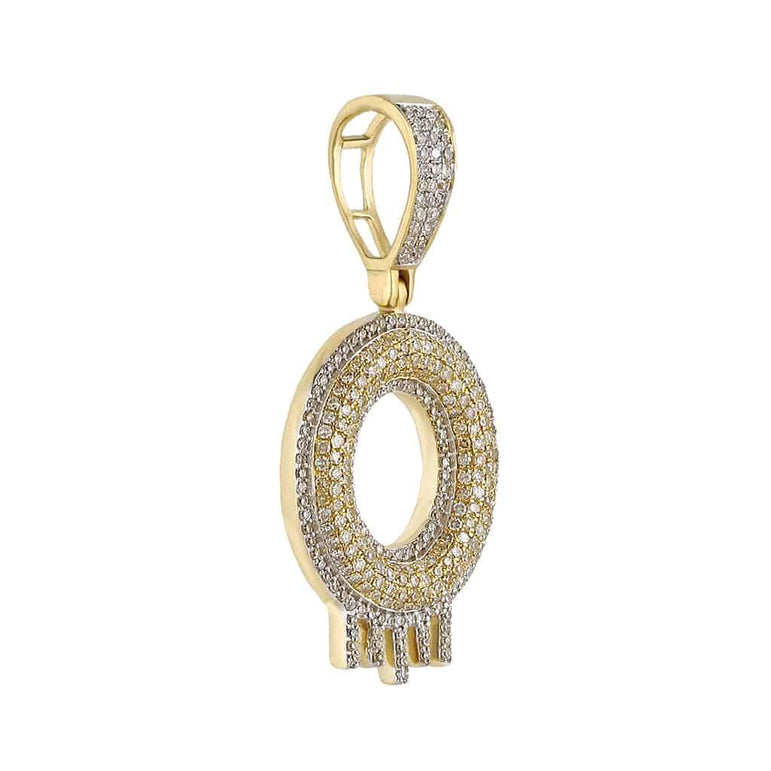 Two-Tone Dripping Initial O Bubble Letter Pendant yellow gold