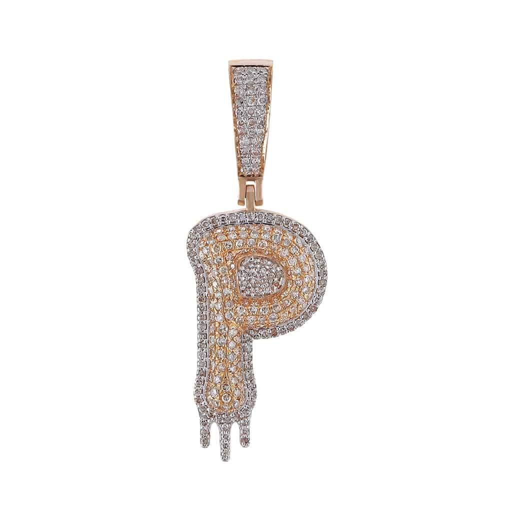 Two-Tone Dripping Initial P Bubble Letter Pendant rose gold