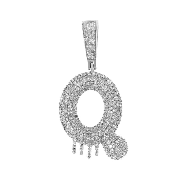 Two-Tone Dripping Initial Q Bubble Letter Pendant white gold