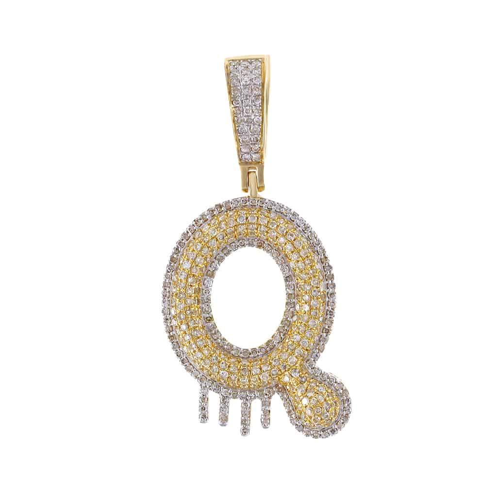 Two-Tone Dripping Initial Q Bubble Letter Pendant yellow gold