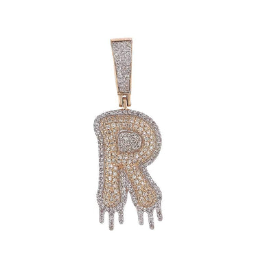 Two-Tone Dripping Initial R Bubble Letter Pendant rose gold