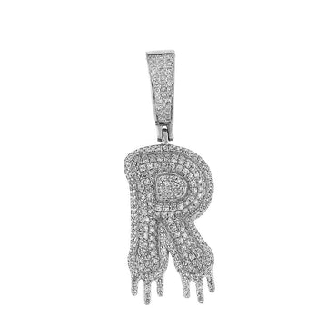 Two-Tone Dripping Initial R Bubble Letter Pendant white gold