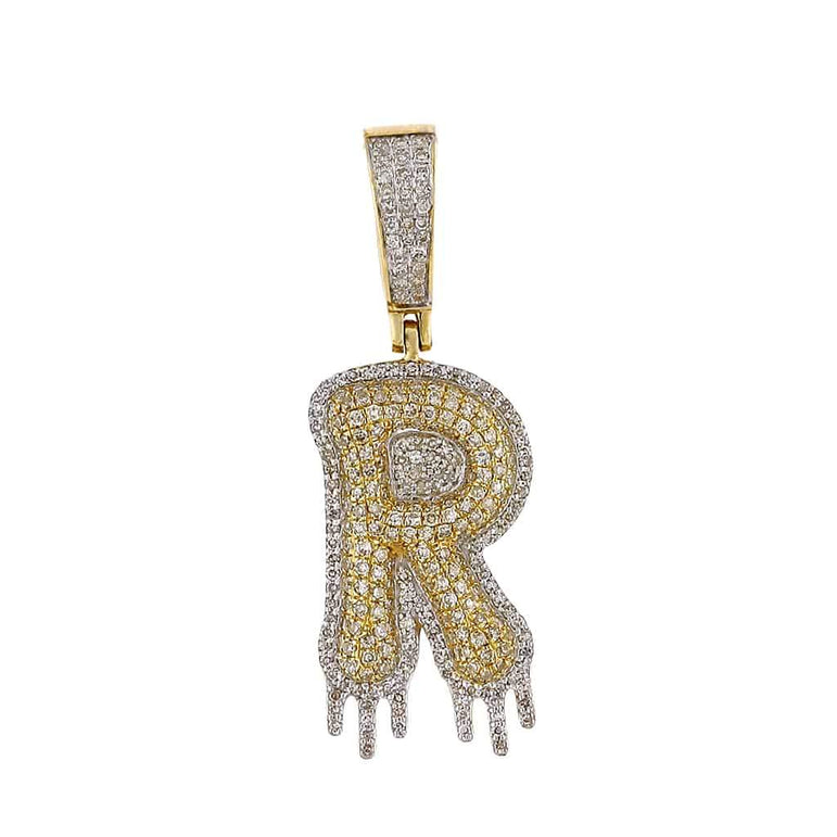 Two-Tone Dripping Initial R Bubble Letter Pendant yellow gold