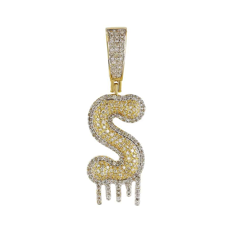 Two-Tone Dripping Initial S Bubble Letter Pendant yellow gold