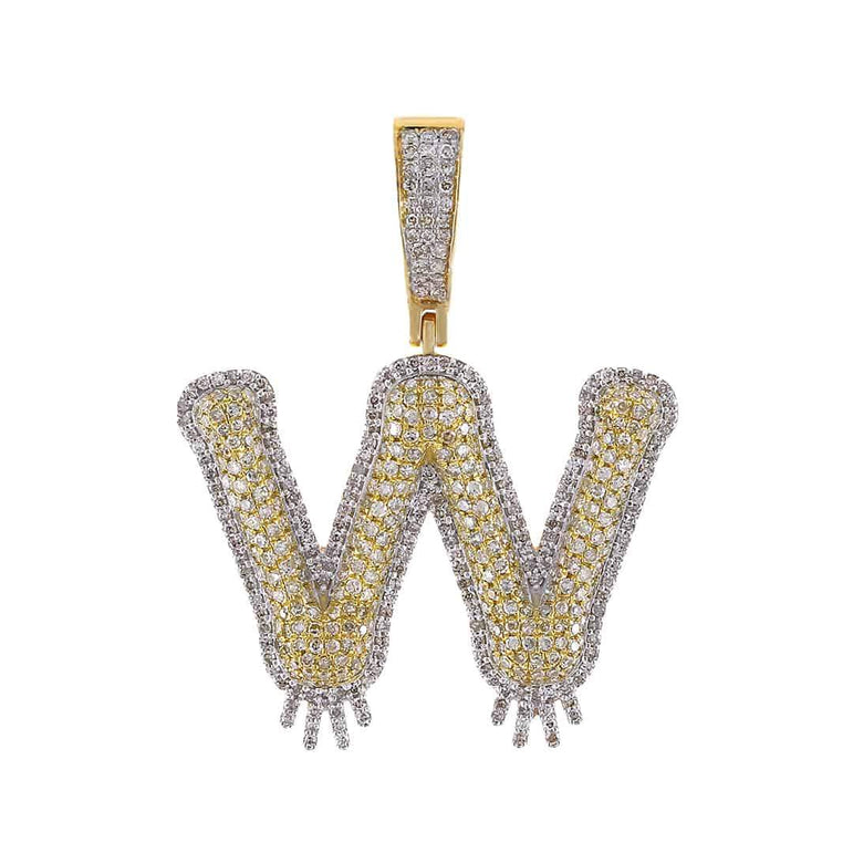 Dripping Two-Tone Initial Letter W Hip Hop Pendant yellow gold