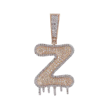 Dripping Two-Tone Initial Letter Z Hip Hop Pendant rose gold