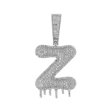 Dripping Two-Tone Initial Letter Z Hip Hop Pendant white gold