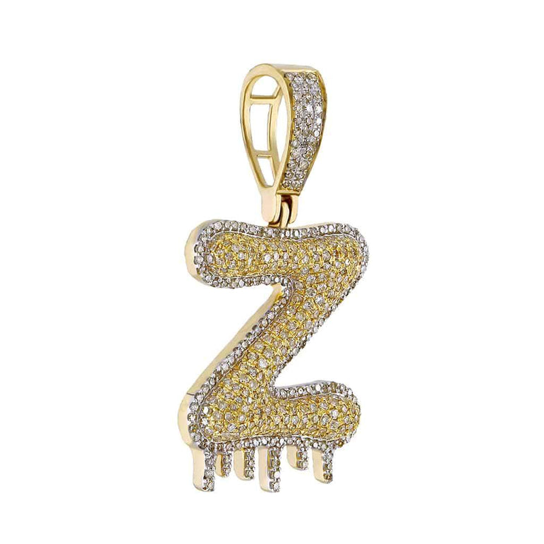 Dripping Two-Tone Initial Letter Z Hip Hop Pendant yellow gold