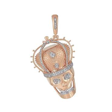 Skull with Crown Charm Diamond Pendant rose gold