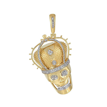 Skull with Crown Charm Diamond Pendant yellow gold