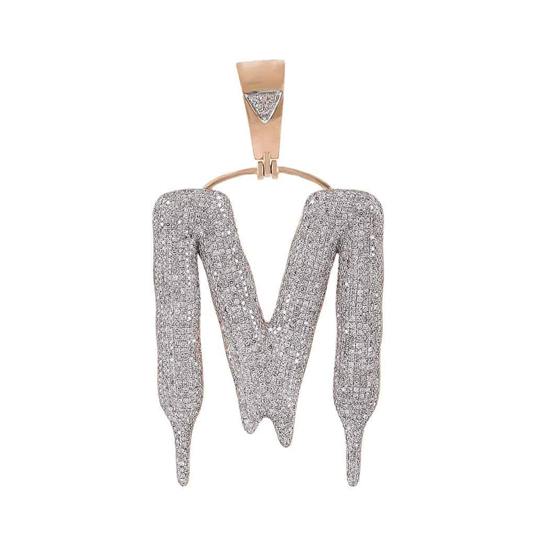 Dripping Initial M Bubble Letter Pendant rose gold