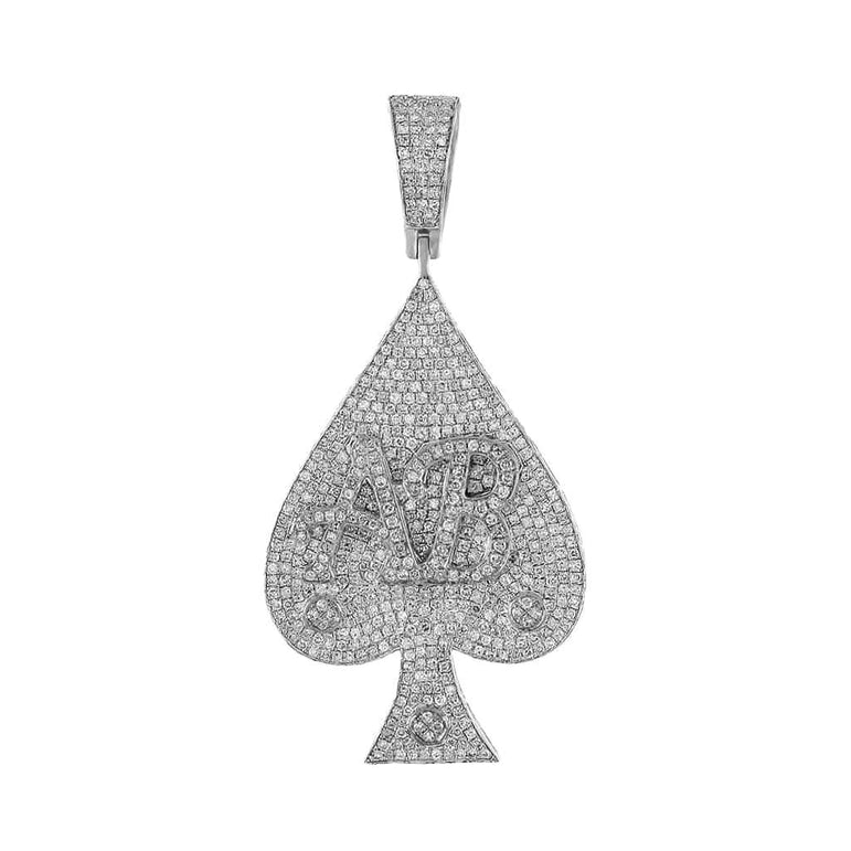 Letter AB on Ace Micro Pave Diamond Pendant white gold