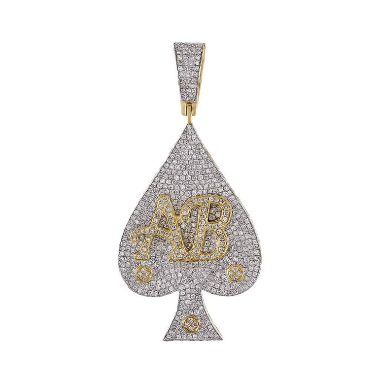 Letter AB on Ace Micro Pave Diamond Pendant yellow gold