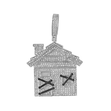 House Pendant for Men white gold