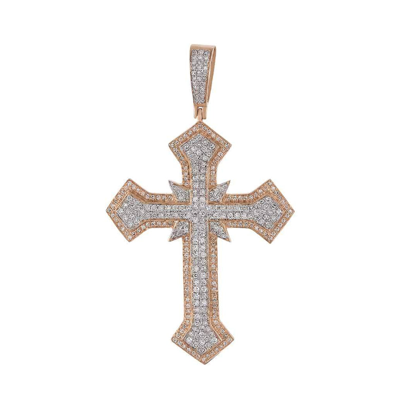 Hip Hop Cross Diamond Pendant rose gold