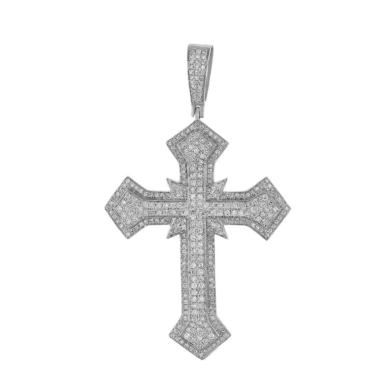 Hip Hop Cross Diamond Pendant white gold