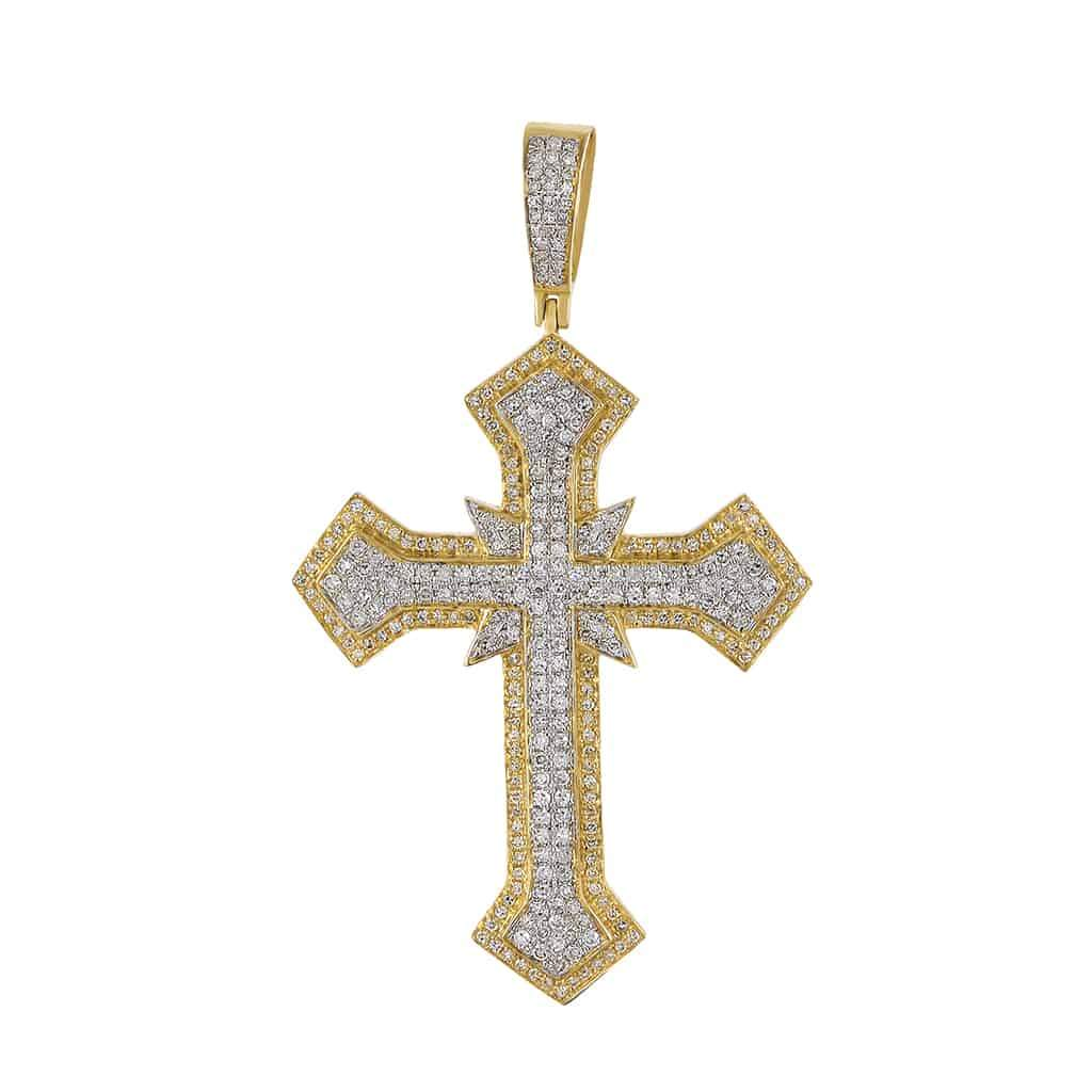 Hip Hop Cross Diamond Pendant yellow gold