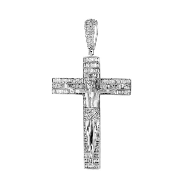 Crucifix Cross Baguette Diamond Pendant white gold