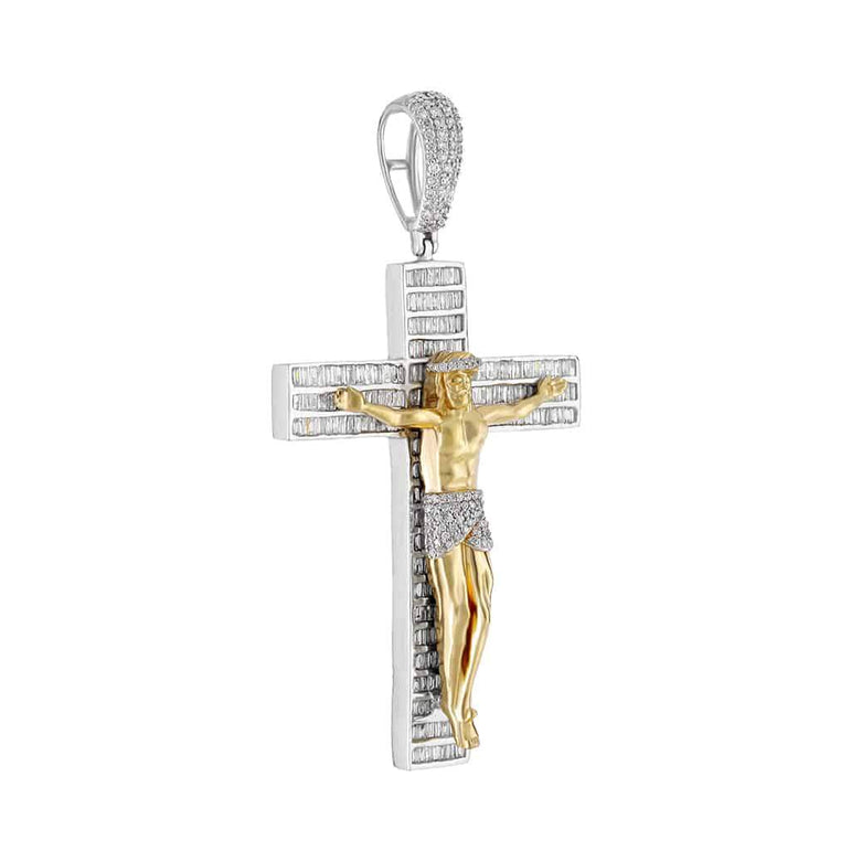 Crucifix Cross Baguette Diamond Pendant yellow gold