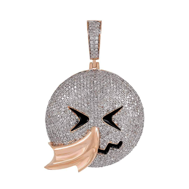 Men's Hip Hop Face Emoji Custom Pendant rose gold