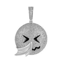Men's Hip Hop Face Emoji Custom Pendant white gold
