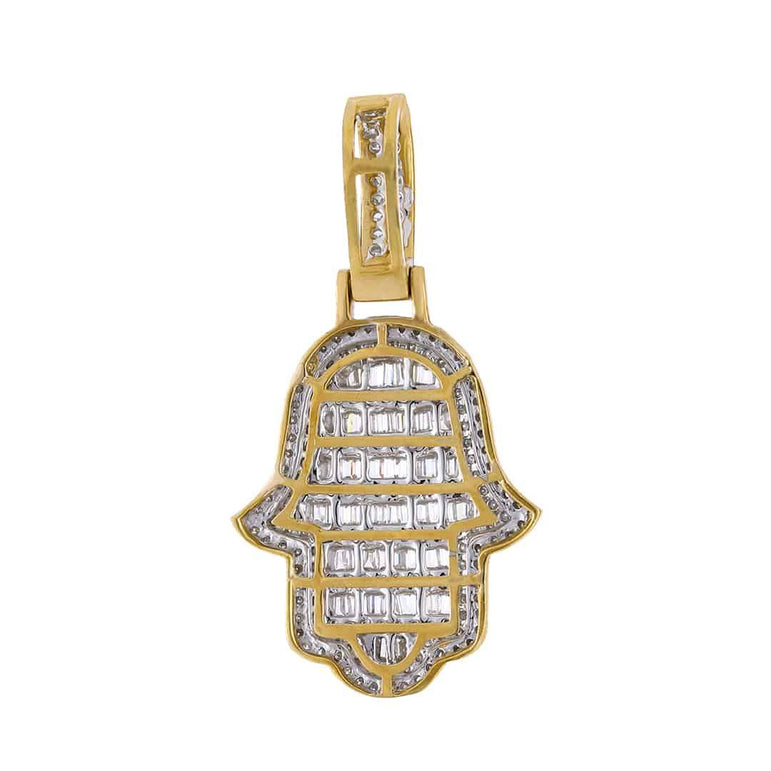 Baguette Diamond Hamsa Pendant yellow gold