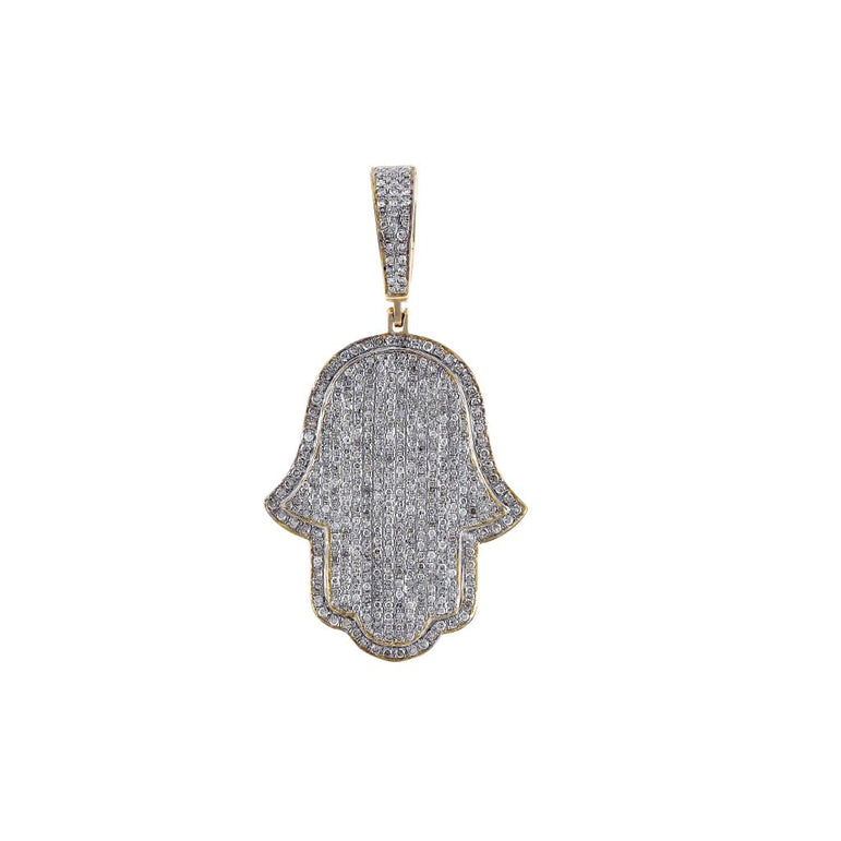 1/3 ct Natural Diamonds  Hamsa Pendant By Fehu Jewel