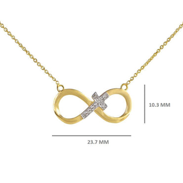 1/10 Cts. Round Diamond Infinity Cross Pendant By Fehu Jewel