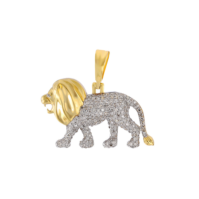 Yellow Gold Walking Lion Necklace Pendant