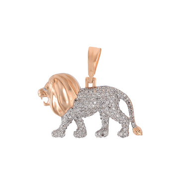 Rose Gold Walking Lion Necklace Pendant