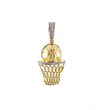 1/5 ct Natural Diamonds Basketball Hoop Pendant By Fehu Jewel