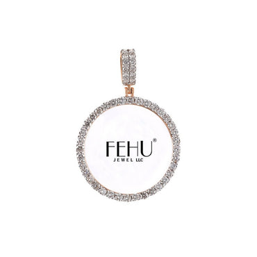 Rose Gold Round Diamond Picture Frame Pendant