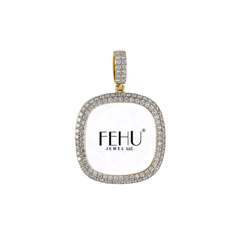 Yellow Gold Round Edge Diamond Picture Frame Pendant
