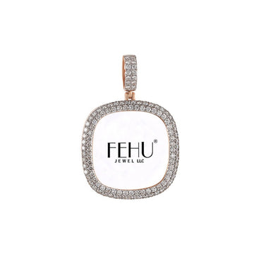 Rose Gold Round Edge Diamond Picture Frame Pendant
