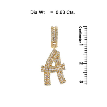 Yellow Gold Baguette Diamond  Initial  Letter A to Z  Pendant
