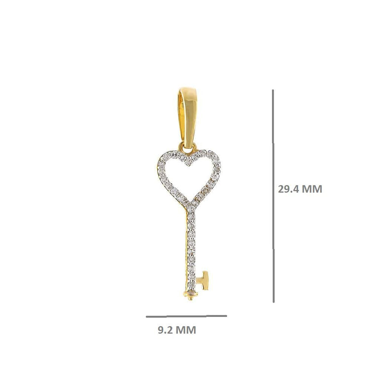 Heart Key Pendant 1/6 Cts. Natural Diamond By Fehu Jewel