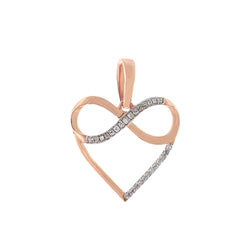 Rose Gold Natural Diamond Infinity Heart Necklace