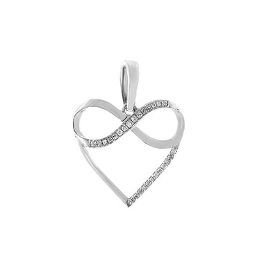 White Gold Natural Diamond Infinity Heart Necklace
